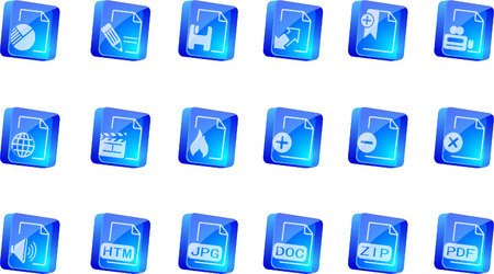 formats: Document and File formats icons  blue transparent box series