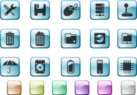 circularity: Computer and Data icons Illustration
