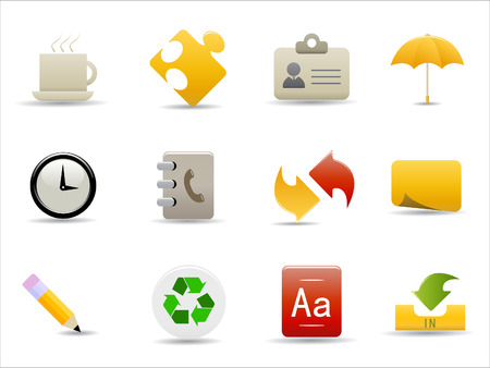 office and internet icons set on white background Stock Vector - 8037197