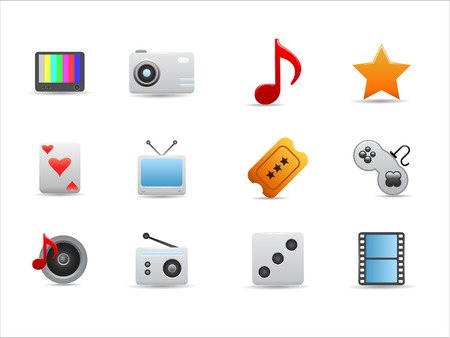 Entertainment icons set on white background Stock Vector - 8037200