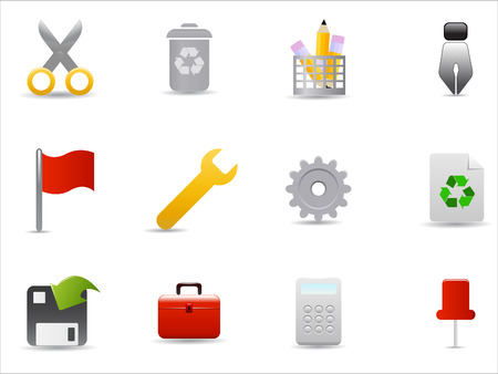 office and website icons set on white background Stock Vector - 8037203