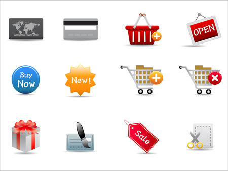 shopping icons set on white background Vector