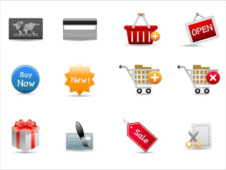 shopping icons set on white background Stock Vector - 8037205