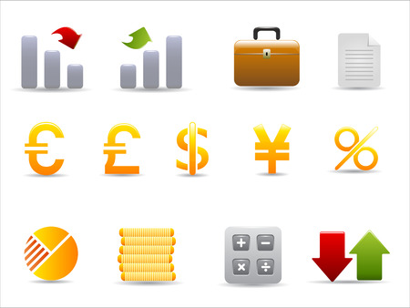 Finance and Banking icons set on white background Stock Vector - 8037204