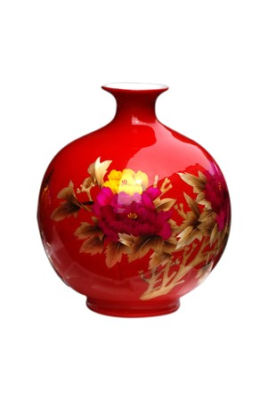 red ceramic vase photo