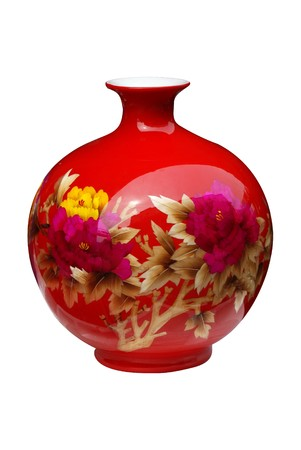 glass vase: red ceramic vase
