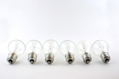 bulb in arrange in a row on white background Stock Photo