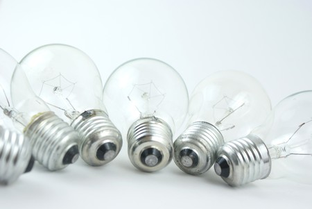 bulb in arrange in a row on white background photo