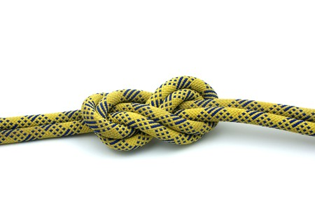 bight: Single Figure 8 on a Bight tied on a yellow rope Stock Photo