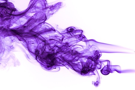 Abstract purple smoke isoltated on white photo