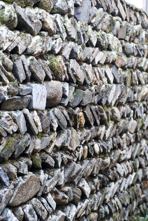 stone wall, flat stacked background and texture photo