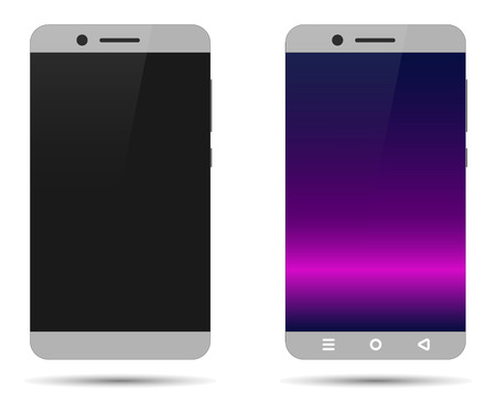 Gray, without a frame, without a central button smartphone in the switched off and on