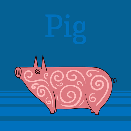 Abstract, pink pig on a blue background. Vector illustration