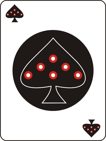 play poison: ace of spades with red dots on a black circle Illustration