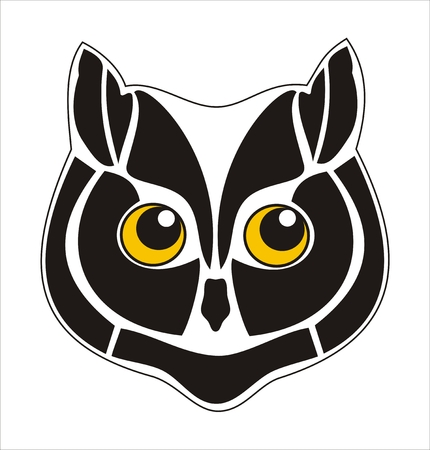 Cute little owl resembling with a cat. Vector