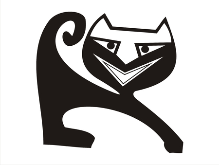 comical stretching black cat with wide smile Vector