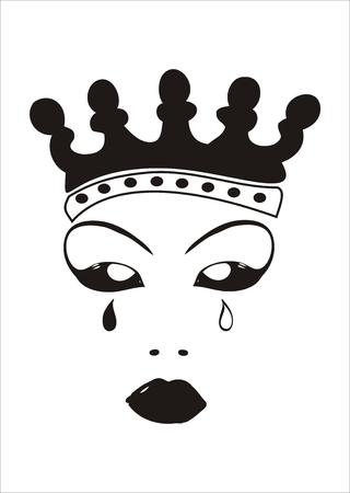 upset woman: Face of an evil queen with crown and tears.
