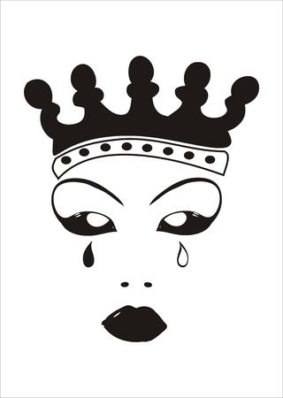Gesicht eine böse Königin mit Krone und Tränen. Vektorgrafik