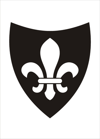 Emblematic white fleur de lis on a black shield. It signifies perfection, light, and life.