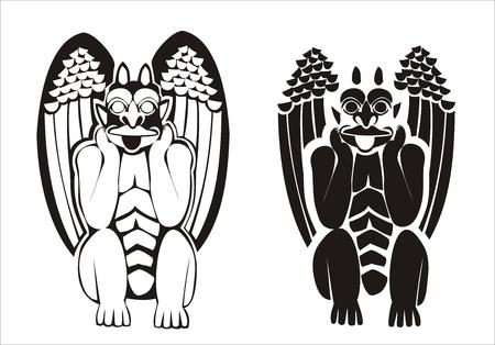 vectorized: Dos versiones de blanco y negro vectorizar g�rgolas. Figura grotesca sosteniendo su cabeza en su mano y su lengua fuera.  Vectores