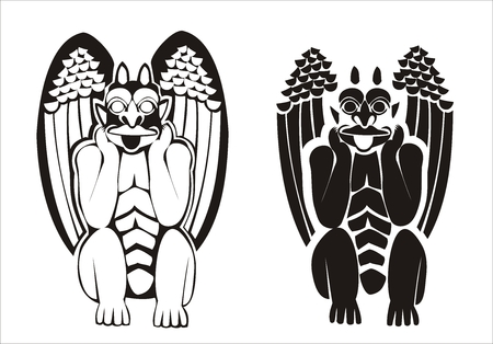grotesque: Two versions of black and white vectorized gargoyles. Grotesque figure holding its head in his hand and its tongue out.