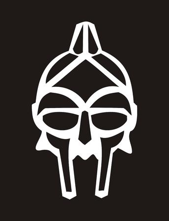 stylized gladiator helmet on a black background