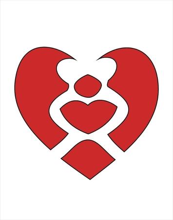 innamorati che si baciano: Due amanti baciare un cuore rosso, simbolo di amore eterno. Vettoriali