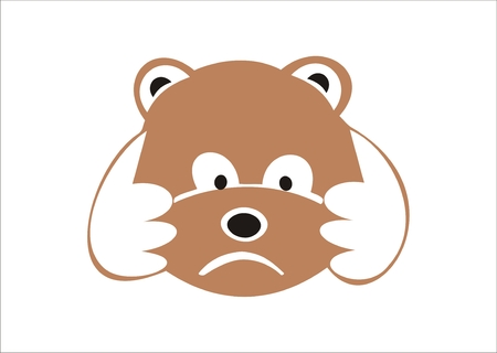 Sad little bear holding its head in its paws. Vector