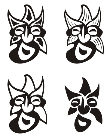 traditionally: Four stylized masks traditionally from Transylvania, Romania. Different concepts.