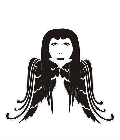 dark angel: stylized dark angel woman on a white background Illustration