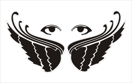 dark angel: pair of wings with two woman eyes above