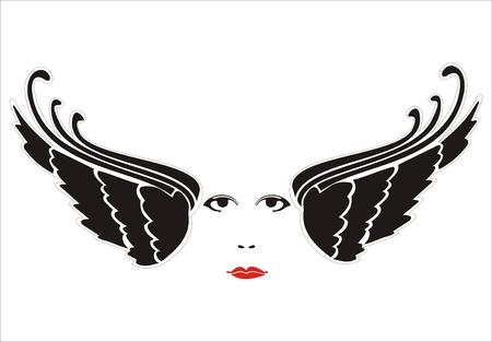 woman face between wings Stock Vector - 6396622