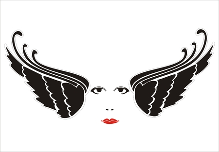 fatale: woman face between wings
