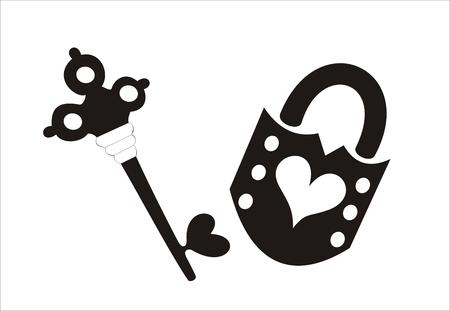 secret love: bloqueo con formas de coraz�n sobre un fondo blanco y negro clave  Vectores
