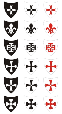 teutonic: set of heraldic symbols Illustration