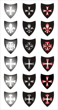Set of heraldic symbols. Different concepts. Vector