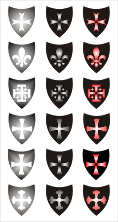 royal french lily symbols: Set of heraldic symbols. Different concepts. Illustration