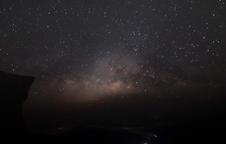 Landscape of Milky way mountain and deep forest at night sky, Pha Tang, ChiengRai province, Thailand