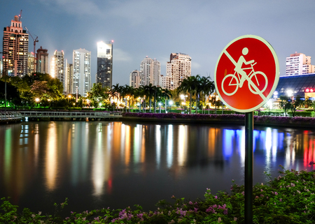 dont walk: No entry sign, do not sign in public, dont pass way, bicycle lane,bike line Stock Photo