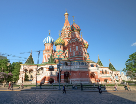 MOSCOW - MAY 27, 2017: Saint Basils cathedral on the Red Square in Moscow. Popular landmark, Its famous for tourist.many people would like to visit here.