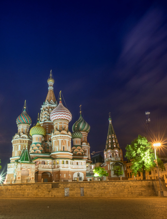 minin: RUSSIA MOSCOW,MAY 27 2017 : Red square, St. Basils Cathedral and monument to Minin and Pozharsky