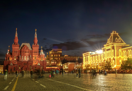 RUSSIA, MOSCOW MAY 27, 2017: Red Square of Moscow. The historical center of the Russian capital at night.