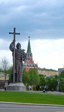 MOSCOW, RUSSIA - MAY 28, 2017:  Monument to Holy Prince Vladimir the Great on Borovitskaya Square near the Kremlin. Vladimir is credited with the introduction of Orthodox Christianity.