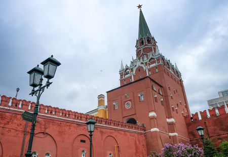 redbrick: MOSCOW, RUSSIA - MAY 27, 2017 Beautiful view of Moscow redbrick Kremlin and red square landmarks at the park outside the Kremlin Palace.