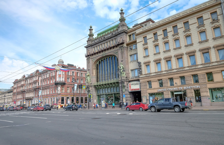 winter road: SAINT PETERSBURG, RUSSIA, MAY 23 2017: Nevsky Prospekt in the city of St. Petersburg, Russia. Many building around here and it look like the European style. classic and attractive one of destination.