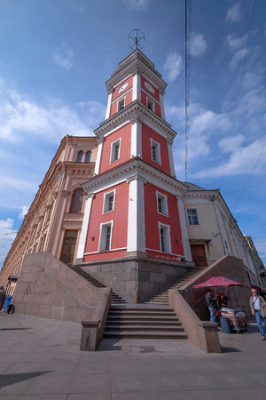 SAINT PETERSBURG, RUSSIA, MAY 23 2017: Nevsky Prospekt in the city of St. Petersburg, Russia. Many building around here and it look like the European style. classic and attractive one of destination.