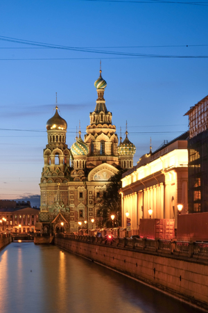 ST.PETERSBURG, RUSSIA - MAY 23 2017: The Church of the Savior on Spilled Blood is one of the main sights of St.Petersburg,Church was built in 1883-1907. It is a landmark of central city, and a unique monument to Alexander II the Liberator.