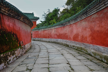 WUDANG SHAN, HUBEI, CHINA - SEP 09, 2017: at the entrance to the Tai chi bua- ancient temple is a center of the Taoist Association of Wudang Mountain. This here is the place for the scene in Journey to the west. And It's especially name.