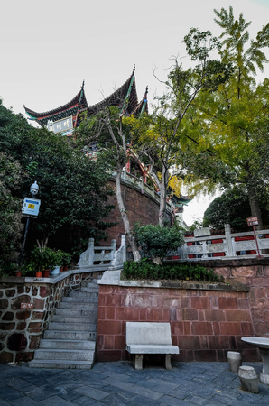 Wuhan Nov 5, 2017,  Chinas hubei province wuhan to old palace with ancient chinese poetry tourists. To old palace is an ancient landmark scenic spots.