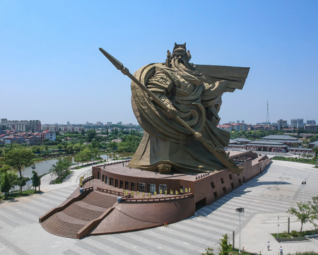 JINGZHOU, CHINA - Jun 7 2018: The biggest Guan Yu Statue. Guan Yu Temple. Travel in Jingzhou City. This temple famous for who love Three Kingdoms series. Especially Chinese name.